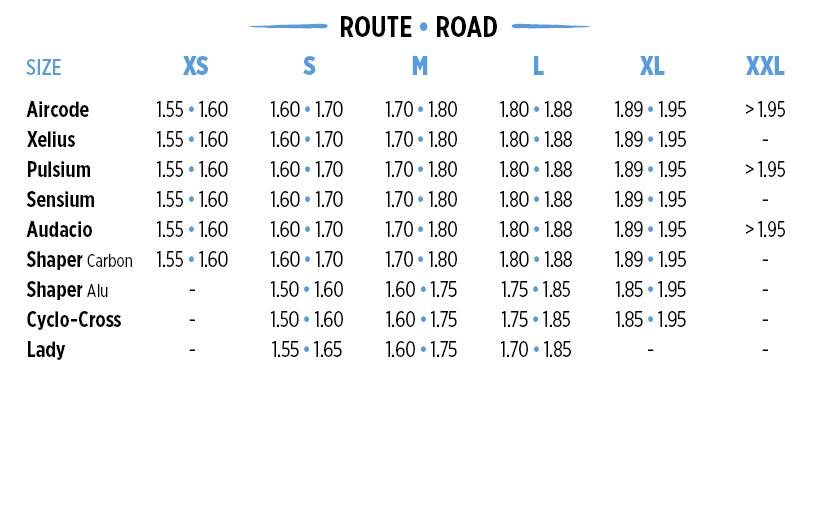road bike sizes