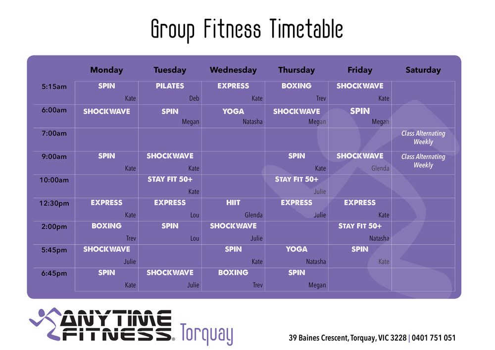 Group Fitness Timetable Update. This is a substantial offering and sure to be super popular.