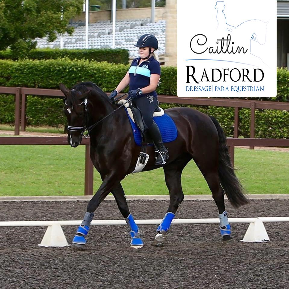 Caitlin riding her coach Susan Elekessy's horse Callum Park Starbucks.