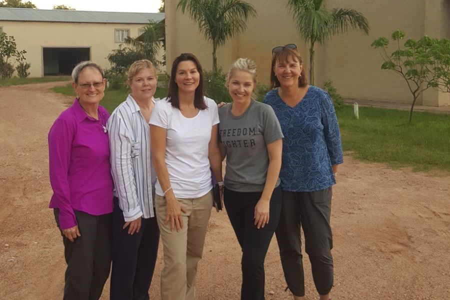 Ginger Martin, Lisa Rose, Jennifer Brockway, Tracy Daugherty, Elaine Ellis arriving at OM Zambia