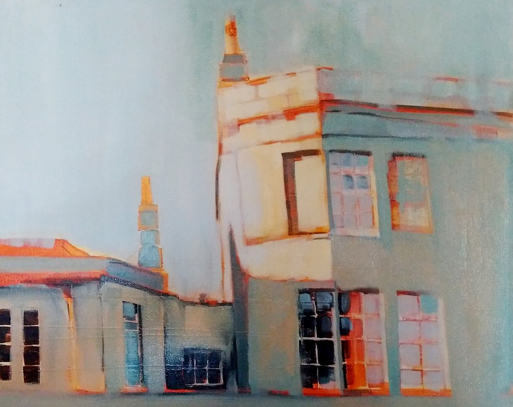 Michael FitzGerald  BEAUFORD PUB, BATH , oil on canvas 100 x 100cm 2016