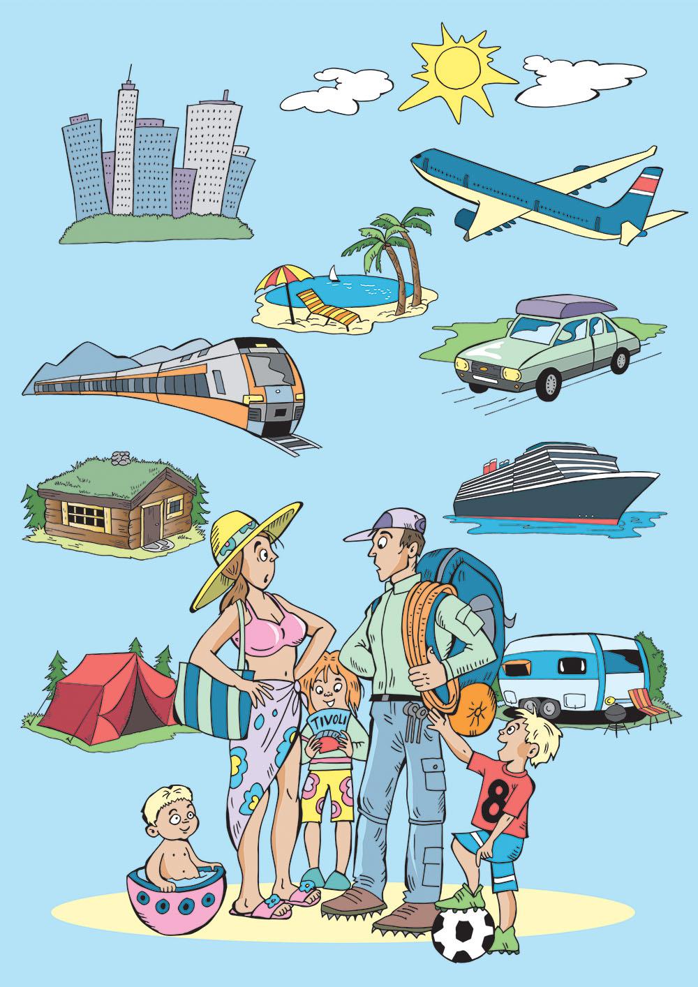 Illustrasjon familie på ferie, illustratør Kari Sortland