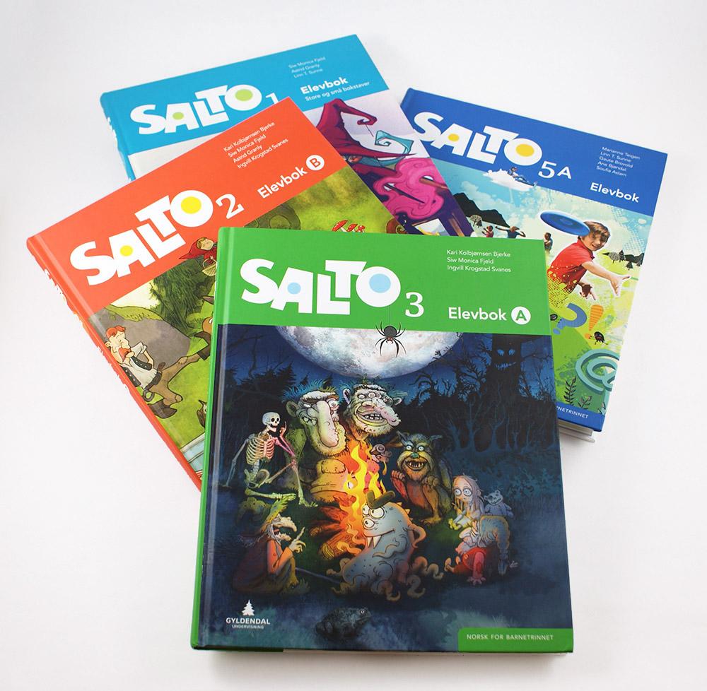 Salto 1–3 og 5A. Erik Ødegaard har tegnet illustrert omslaget til Salto 3.