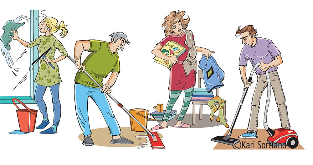 Illustrasjoner hvor brukeren skal lære seg navnet på forskjellige typer husarbeid.
