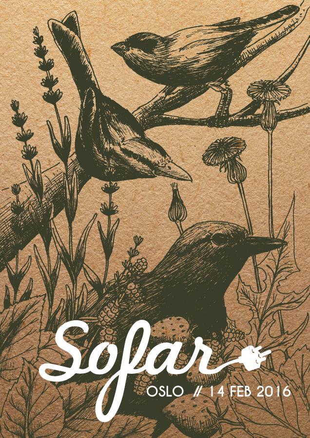 Plakat laget fra Sofar Sounds Oslo og Stavanger (Feb2016) Sofar Logo er et egenskap av Sofar Sounds.
