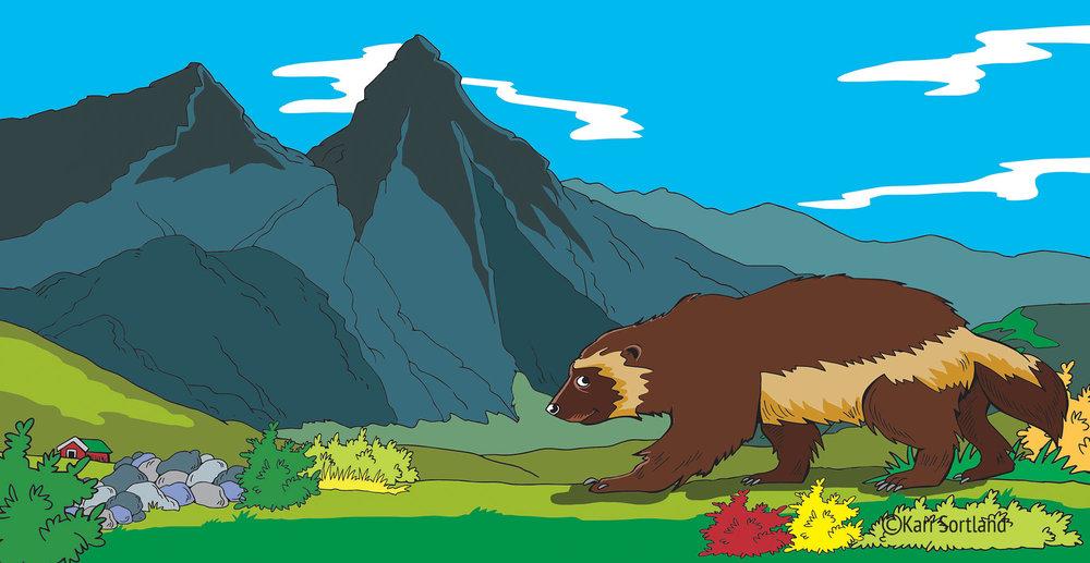 """Barnebok, """"Dyr på fjellet"""", Illustratør Kari Sortland"""