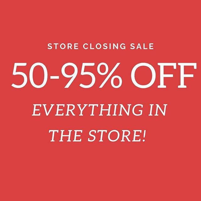 We've marked down everything in the store to 50-95% off AND all warehouse items have been moved into the boutique! Store closing end of April!