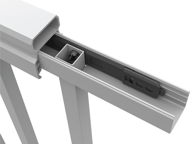 It's a lock! - The innovative locking strip uses a patented installation system which locks the balusters and rails together from the inside out.