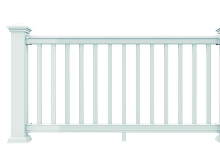 Contoured Rail Design with Architectural Details - Merrimack Railings offer attractive options like hidden bracket hardware, LED lighting and composite deck boards for the top rail, creating a handy, flat top rail perfect for entertaining.