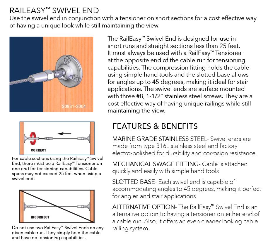 Raileasy Hardware Swivel End
