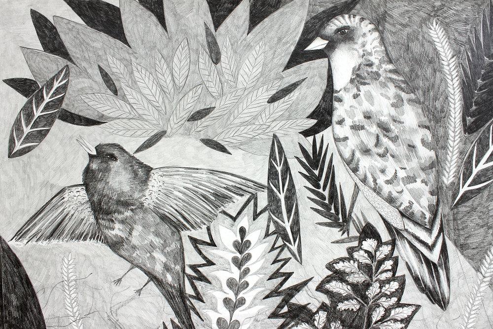 Ricarda Hoop - Geboren 1981,2004-2011 Studium freie Kunst an der HfbK Hamburg. Ricarda Hoop lebt und arbeitet seit 2011 in Leipzig und hatte bereits zahlreiche Ausstellungen in Deutschland und Europa.Voyage dans la chambre – die gezeichnete Landschaft im Raum: