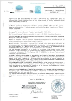 Prolimsa and Dicora GMP certificate (click to enlarge)