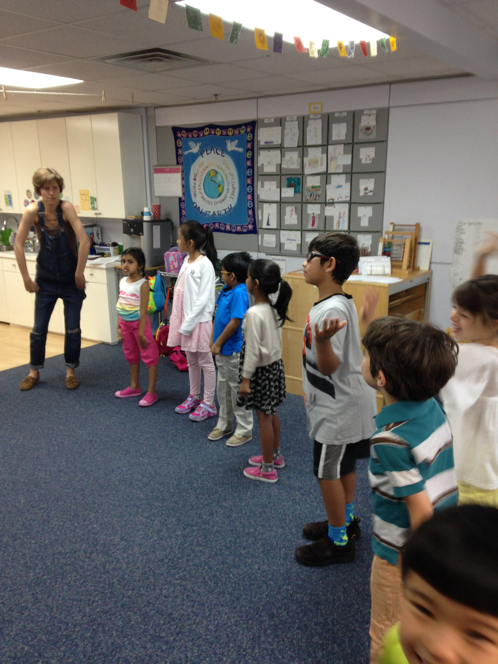 Ms. Elisabeth's sister, Kathleen, visited the Lower Elementary West class to share a special theater workshop.  The students were thrilled to have a visit from a professional actor.