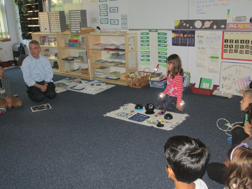 A first year Lower Elementary East student shared a creative, informative and dynamic PowerPoint presentation about the Solar System with her classmates. She also shared pictures and variety of objects.