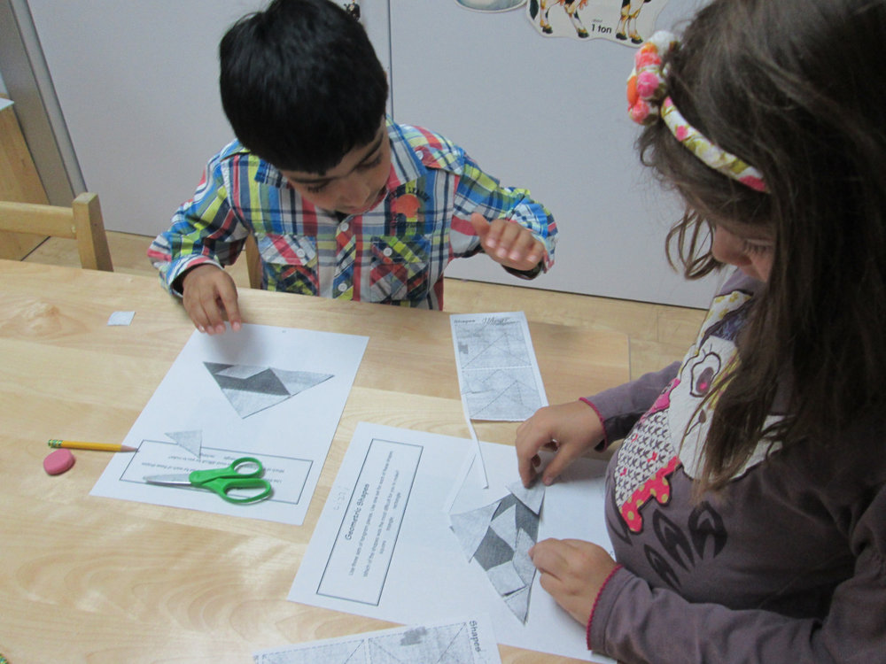 First year Lower Elementary East students worked to solve various tangram puzzles. This work requires patience, problem-solving skills and great concentration.