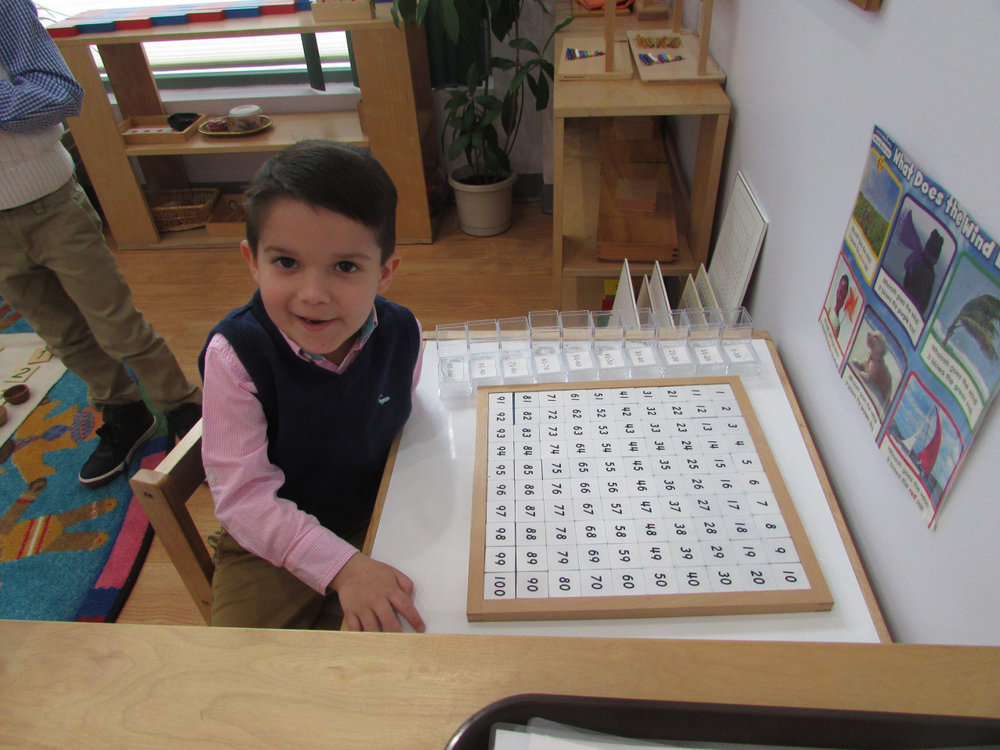 The Primary 2 students practice linear counting daily with the Hundred Board material, and they love completing the work all the way to 100.