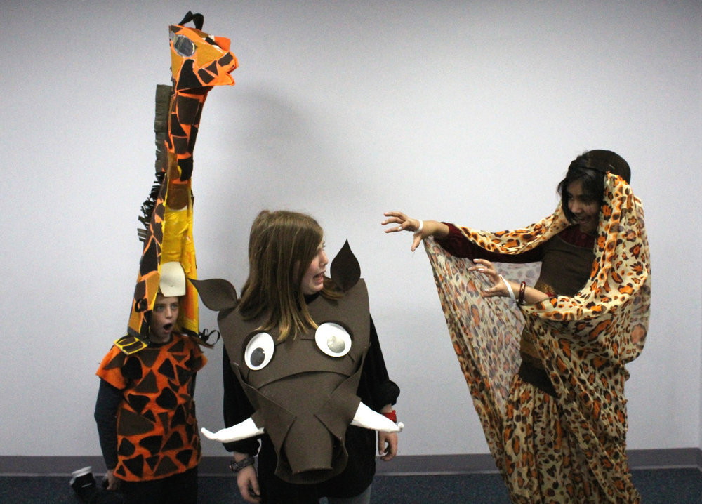 A sneak peak at a giraffe, Pumba and a lioness from  The Lion King …
