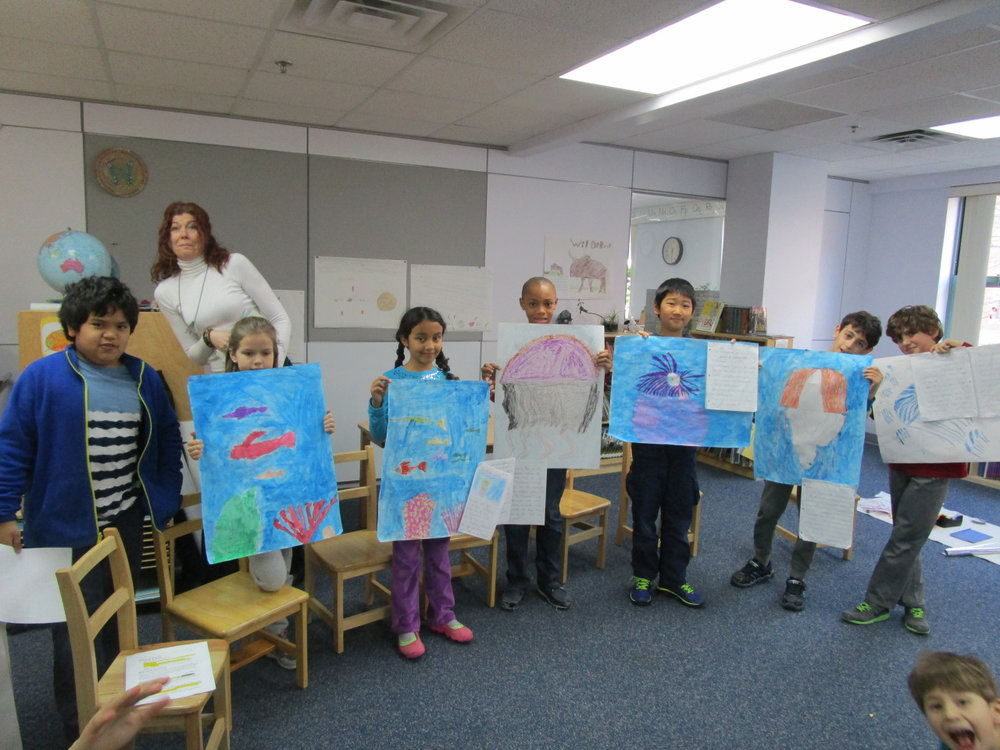 After conducting research about different types of jellyfish and sea anemones, the third year Lower Elementary North students presented their projects to the class.