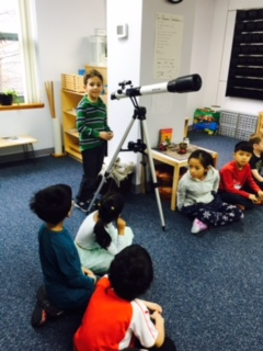 A Lower Elementary West student brought in his telescope to share with the class.
