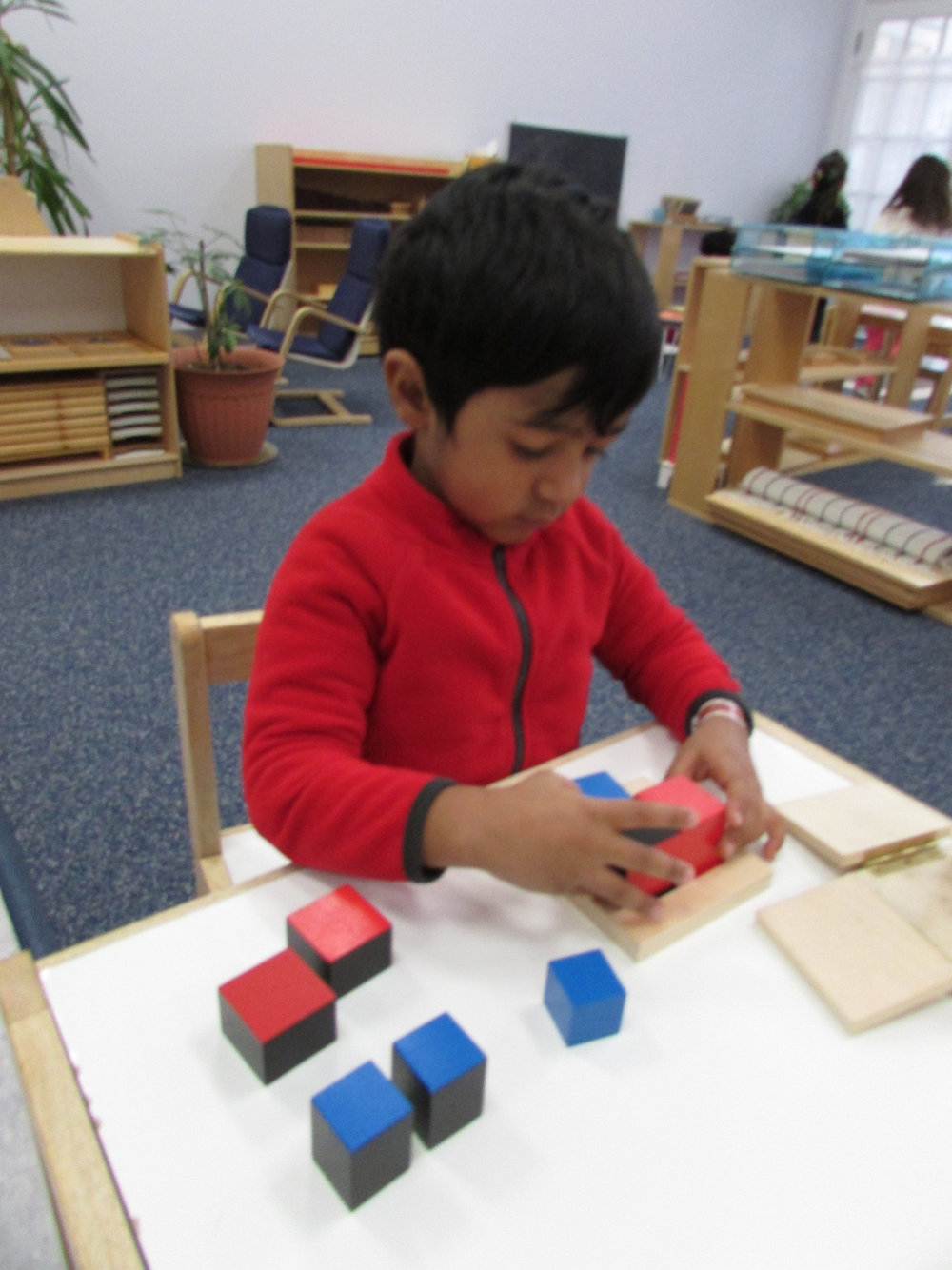 The purpose of the Binomial Cube is not to teach Math, but instead to provide a challenge for a Primary 3 student's ability to find patterns and relationships. Therefore, the material is presented as a Sensorial activity.  In later years the students will learn to use the same material for Algebra.