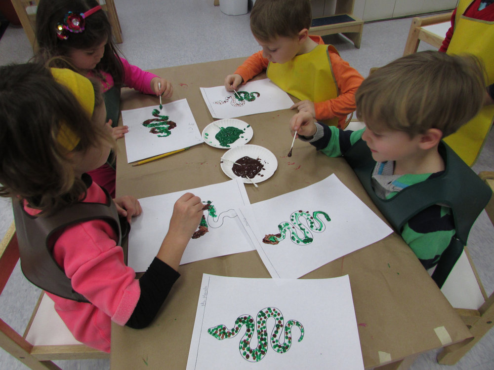The Primary 3 students received a lesson about reptiles followed by some fun art activities to help develop their fine motor skills.