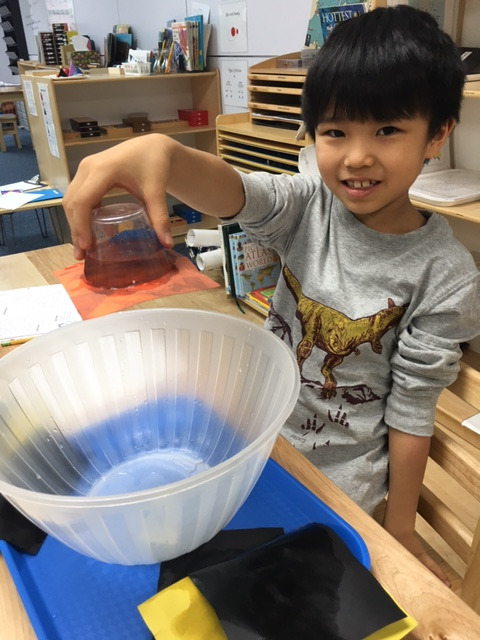 The Lower Elementary West students love to explore by conducting Science experiments in the classroom.  A student worked independently to perform an experiment showing the relationship between gravity and air pressure and recorded his observations using the Scientific Method.
