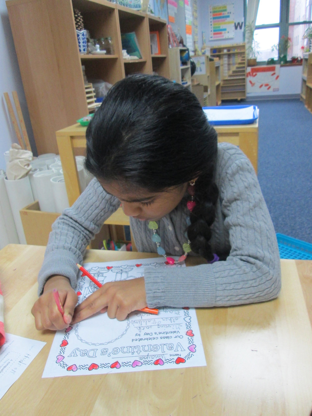 As part of their morning message, the Lower Elementary East students reflected on how they celebrated Valentine's Day in and out of the classroom.  Through various writing prompts, the students recalled events and traditions of the holiday.