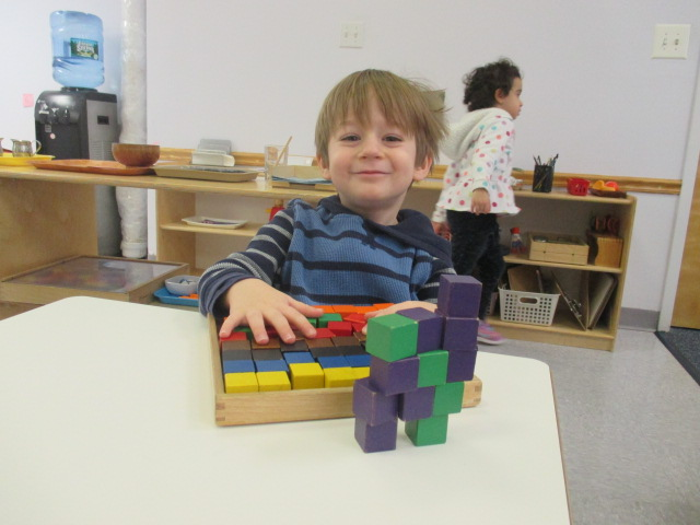 Block patterning is fun.  And it is more fun when students come up with their own extensions like this one, for which a three year old Primary 1 student decided to build a horse using the blocks.