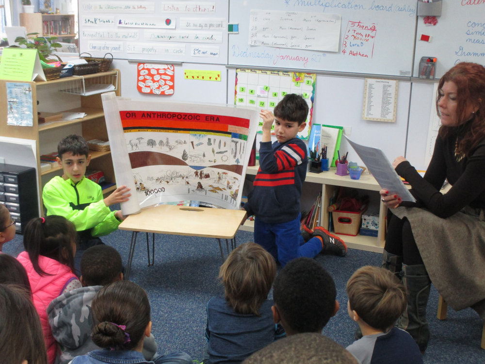The Lower Elementary North class listened to Montessori's Third Great Lesson: The Coming of Humans.  They had many questions and enjoyed working on drawings and writing after the presentation.   The great stories are shared every year in the Lower Elementary classrooms.