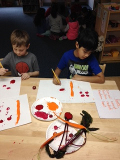 The first year Lower Elementary West students learned about different types of roots and their shapes then made root prints from a few examples of edible taproots.