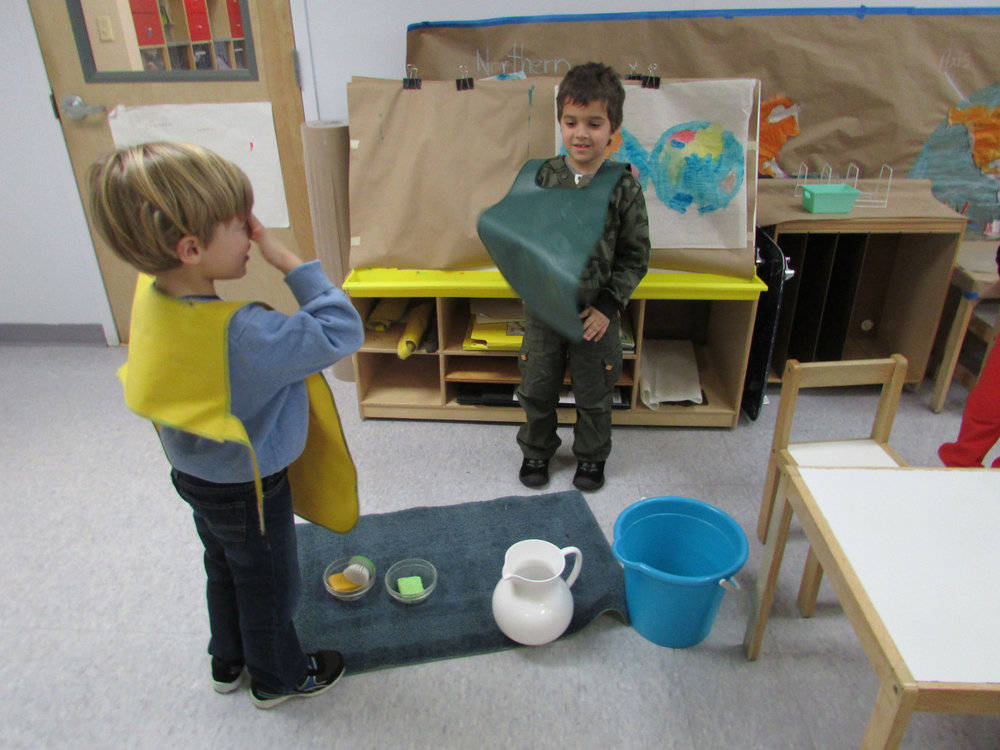After the Winter break, the Primary 3 students were ready to get back to work. One student happily gave a table scrubbing lesson to a new friend.