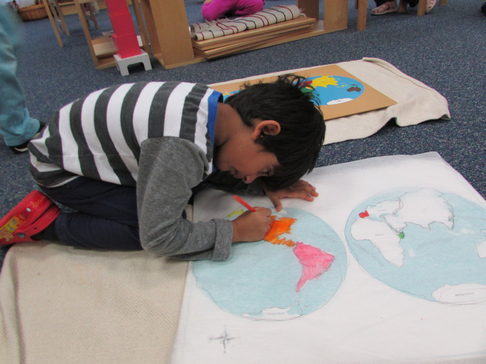 Making a map is not only a way to learn the names of the continents.  It requires concentration and helps to develop fine motor skills.