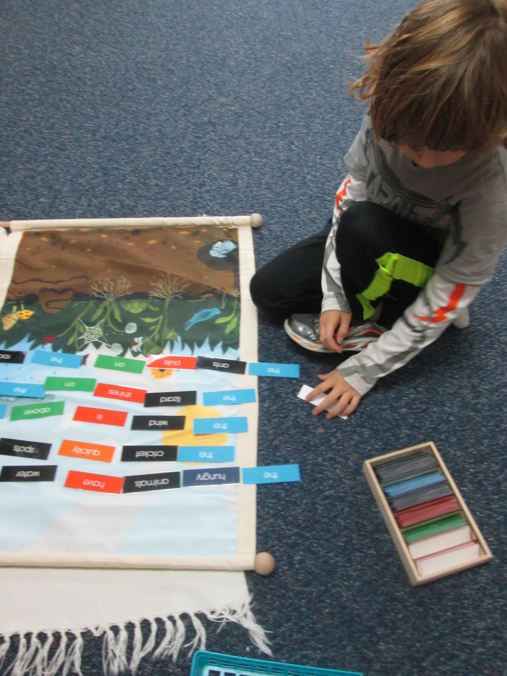 A third grade Lower Elementary East student worked on an abstract and complex Language work.  Using the Biome Mat, the student is required to create sentences using tickets and then compose the sentence and symbolize it.