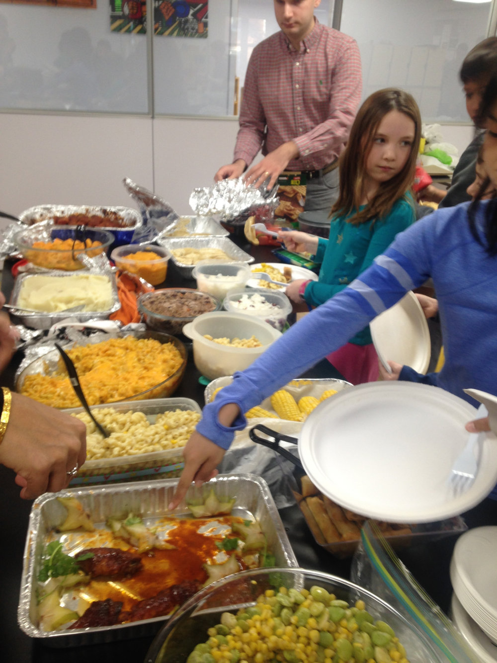 The Upper Elementary and Middle School students enjoyed a wonderful Thanksgiving Feast which featured contributions from cuisines around the world.