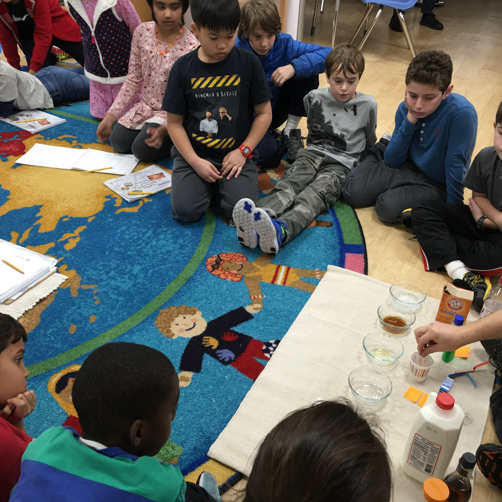 The Upper Elementary class learned about acids and bases and tested out different substances with litmus paper.