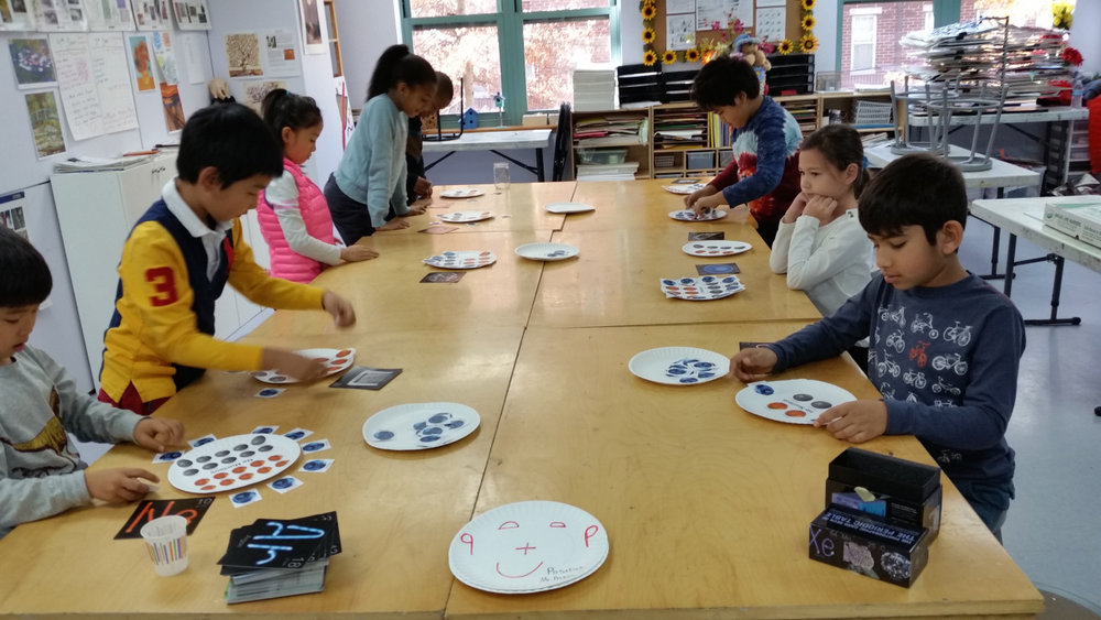 In their Science class with Mr. Matt, the Lower Elementary students learned about the elements and played Musical Elements, a version of Musical Chairs which taught them about atomic numbers, protons, electrons and neutrons of atoms.