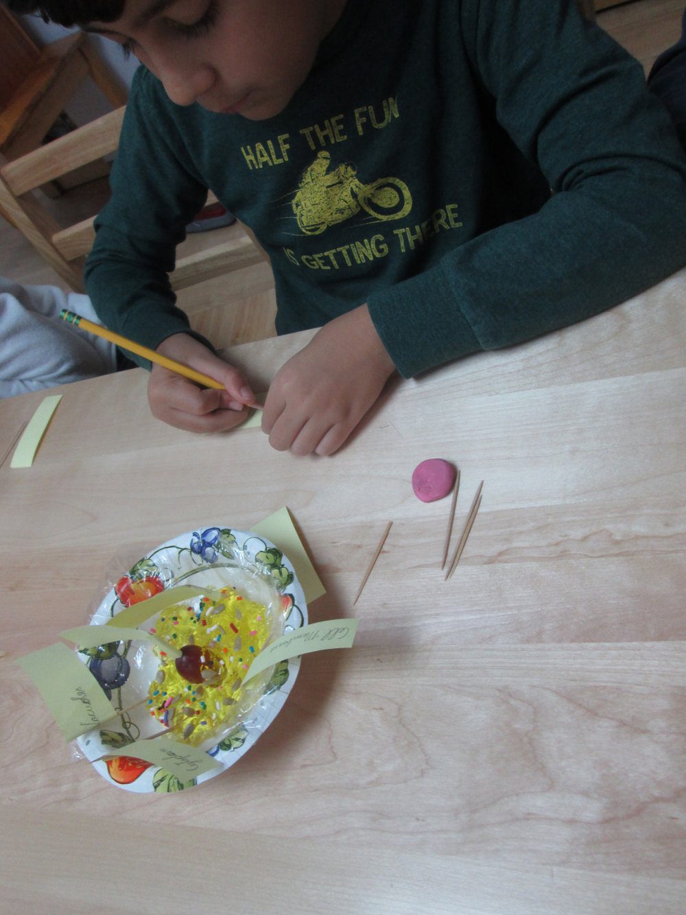 """Second and third grade Lower Elementary East students continued their Science studies with a lesson about animal and plant cells. As follow up work, the students studied diagrams and read about cells. Finally, each student made his or her own """"edible cell"""" with different food items."""