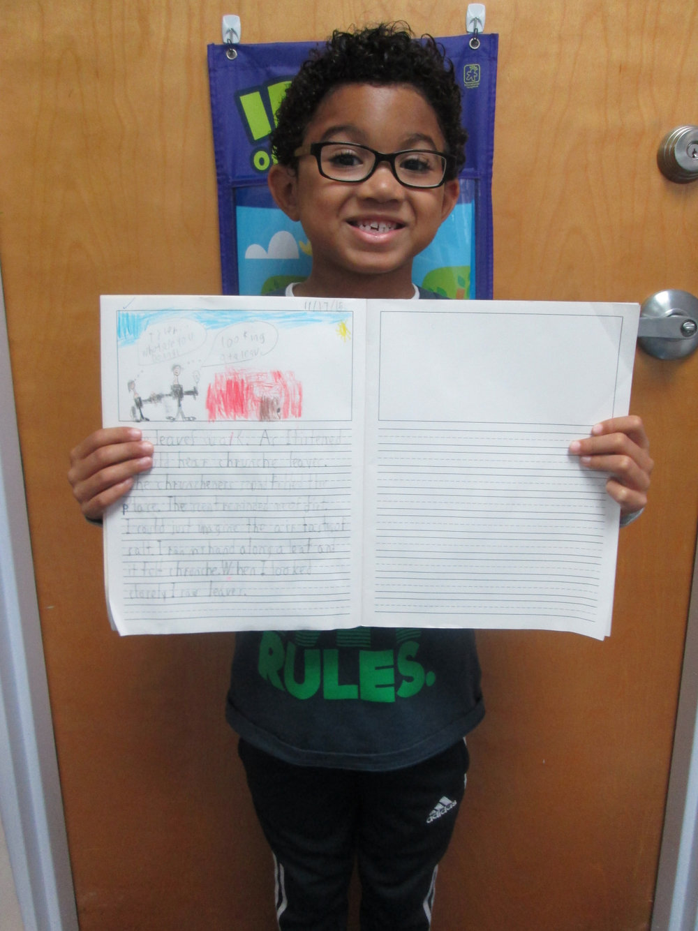 The Lower Elementary East students enjoyed collecting leaves during their nature walk.  They were aware of their surroundings and paid close attention to how their senses reacted to the changes occurring outside.  A first grade student wrote about his experience in his morning journal.