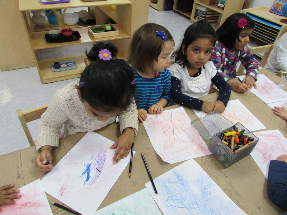 After the class talked about the colors of the Fall leaves, the Primary 3 students created leaf rubbings and paintings.