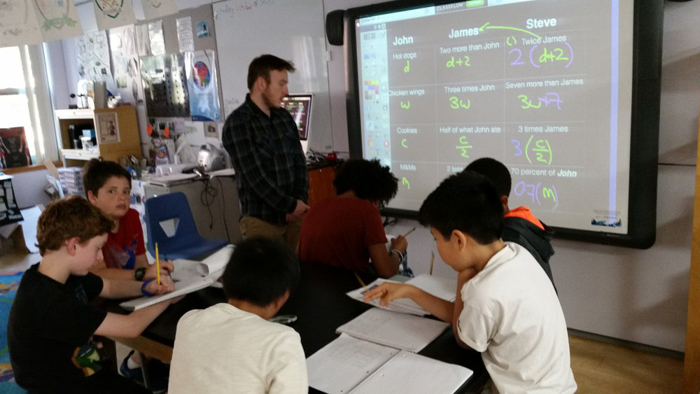 Mr. Andrew presented an Algebra lesson to some Middle School students.