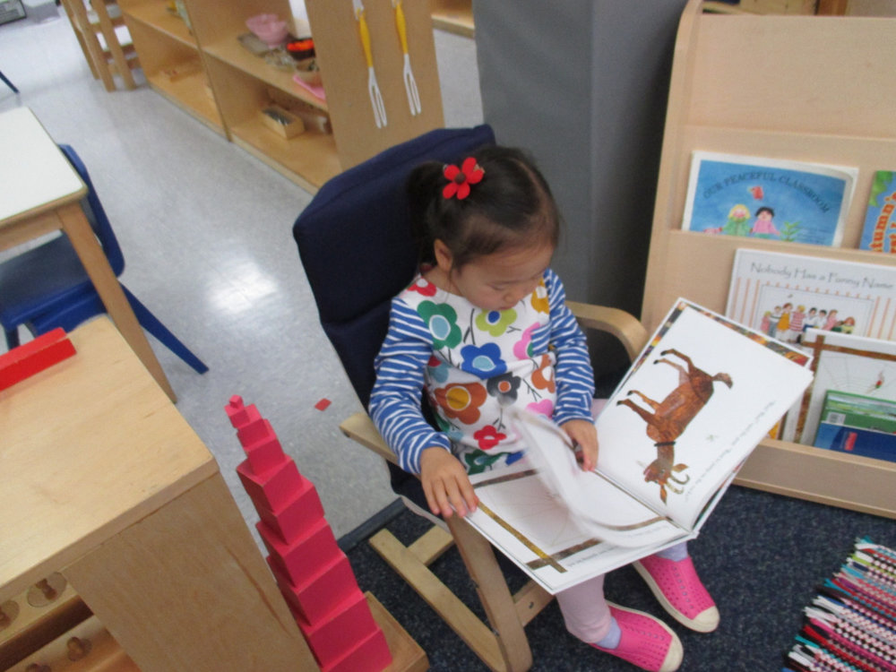 Primary 1 students often enjoy quiet time in the book corner.  Whether they are reading or looking at picture books, their library is one of their favorite areas of their classroom.