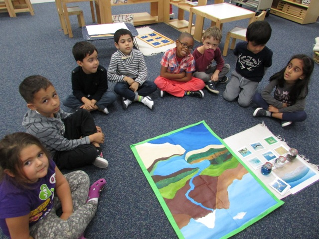 The Primary 3 class began learning about land, air and water.  The students were introduced to a new work in the classroom to classify pictures by placing them on the corresponding land, air or water area.