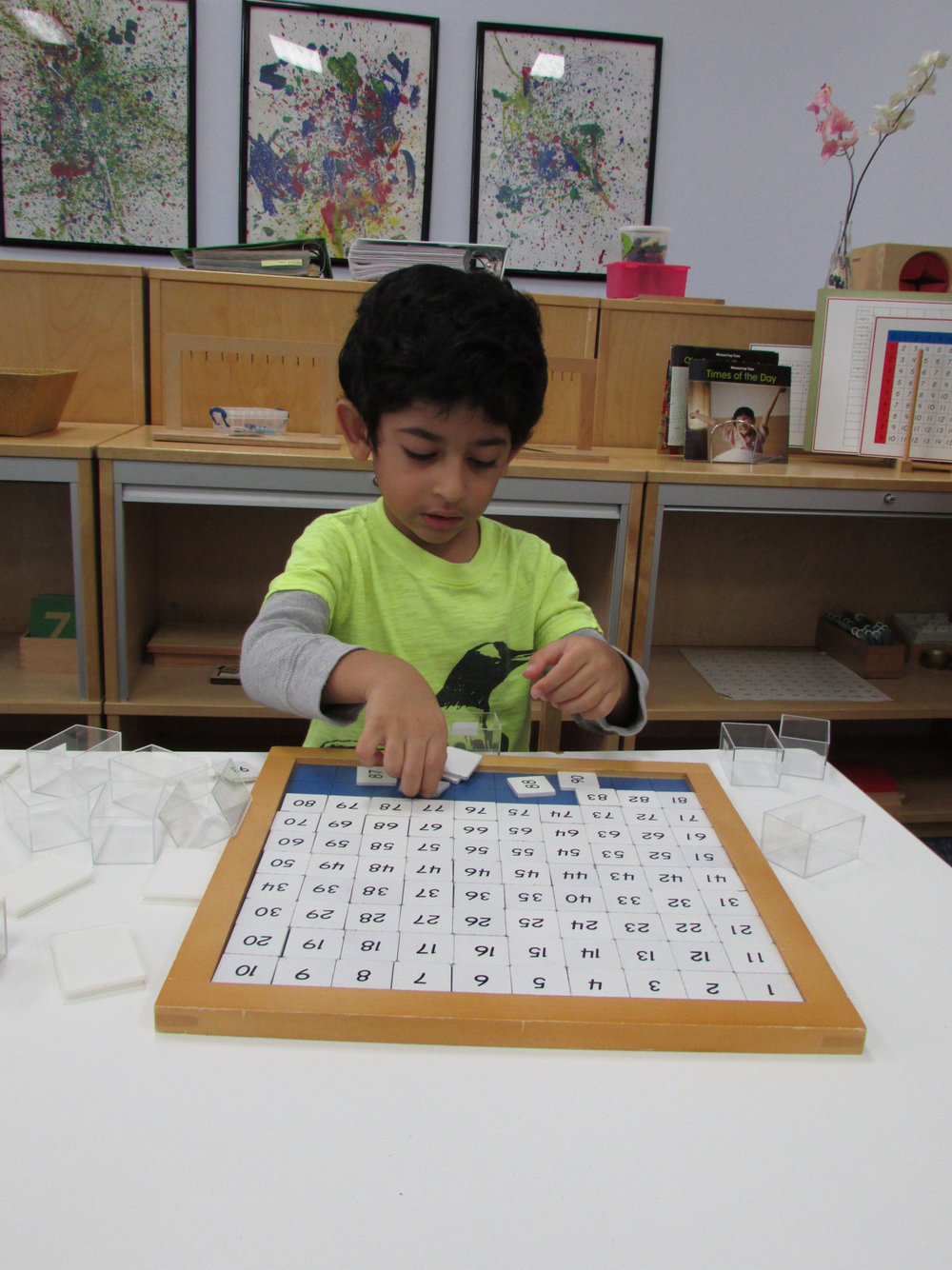 The Hundred Board, with its variety of extensions, is one of the many materials in the Primary 3 classroom that the students use to practicing linear counting.
