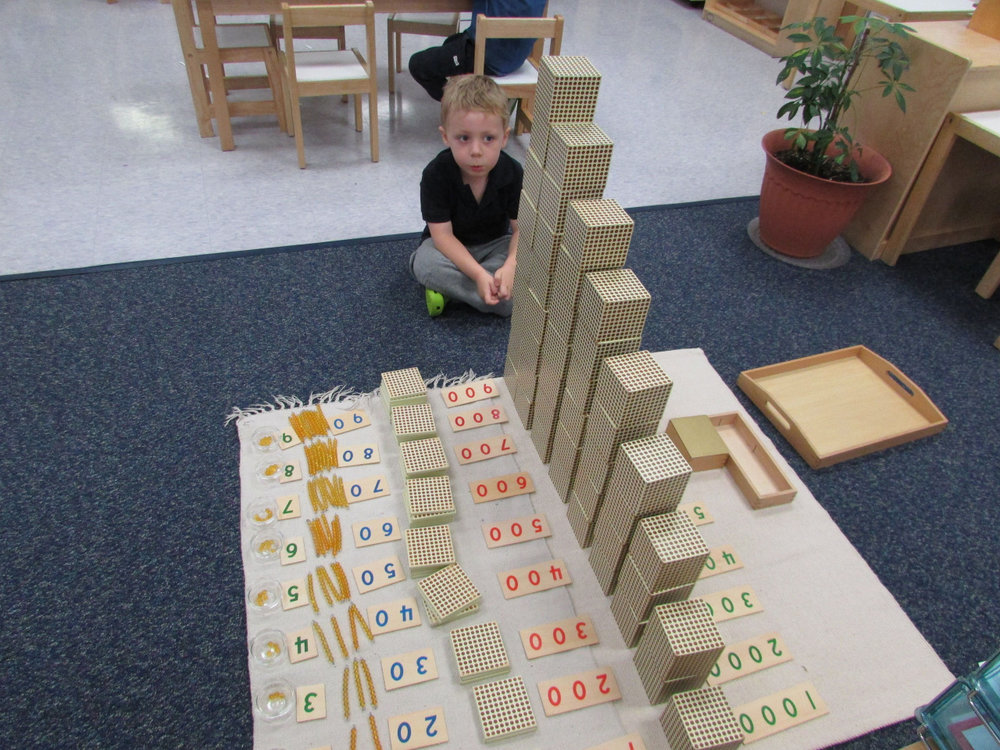 The Golden Bead Layout is an extensive work that teaches place value as well as associating numbers and quantities.  A young Primary 3 student felt a sense of accomplishment when he completed the work.