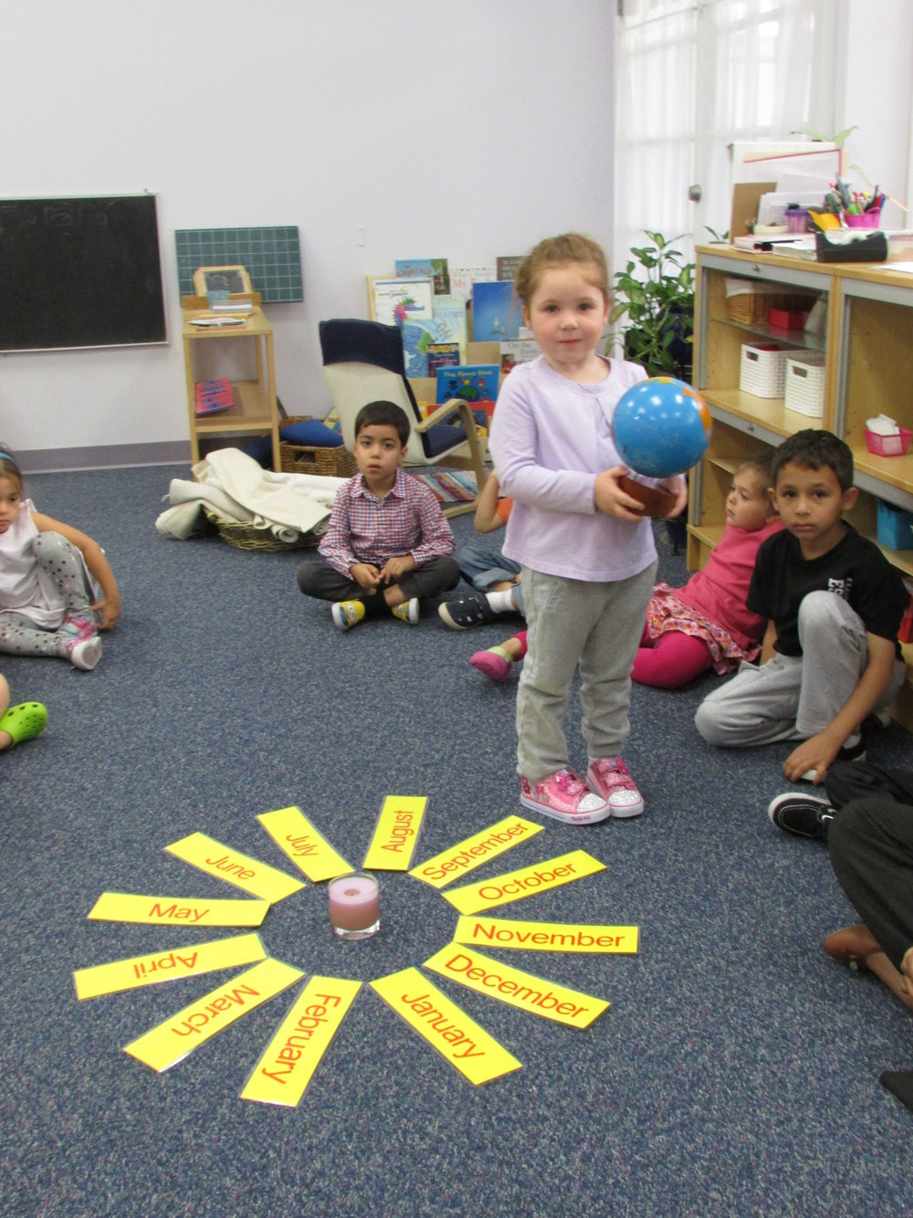 "The Primary 3 class celebrated a classmate's birthday with the traditional Montessori ""Walk around the Sun"".  The birthday child carries a globe of the Earth as she walks around a candle representing the Sun, to represent the number of years she has been alive.  The class also talked about milestones achieved for each year of the child's life."