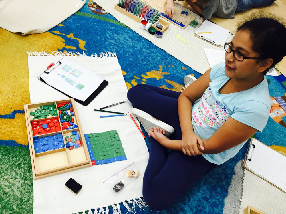 Manipulating stamps and building successive squares gives the Upper Elementary students a firm and concrete representation of what a number squared actually means and how one can go on to squaring the next number.