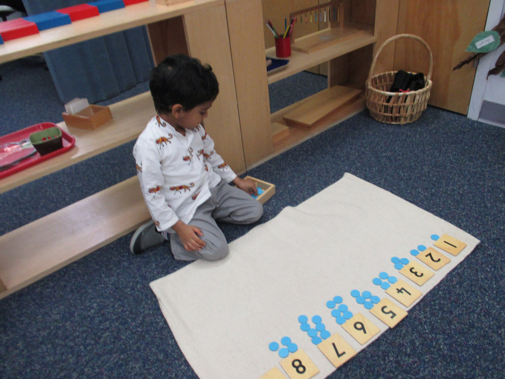 Associating quantity with numerals is an important step in our Math curriculum, which must be mastered in order to move on to advanced linear counting. A Primary 1 student worked with the Numerals and Counters to understand the base ten system and associate numerals with quantities.