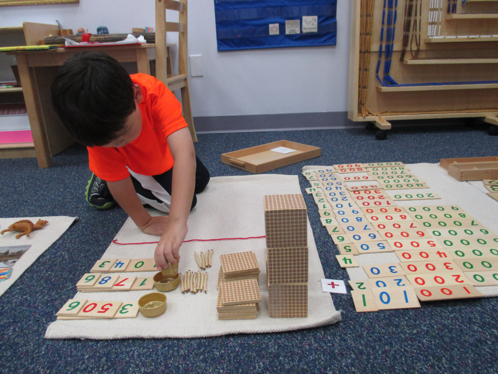 A Primary 1 Kindergartener practiced addition with the Golden Beads, a work that takes patience, a lot of movement and time. This work enhances fine motor skills, independence and a sense of order.