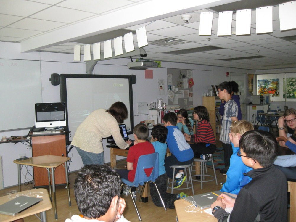 IB learners are knowledgeable. They explore concepts, ideas and issues that have local and global significance.  In doing so, they acquire in-depth knowledge and develop understanding across a broad and balanced range of disciplines. A Middle School class parent who is a pediatrician gave a presentation to the class about functions of the human body and methods for medical diagnosis.