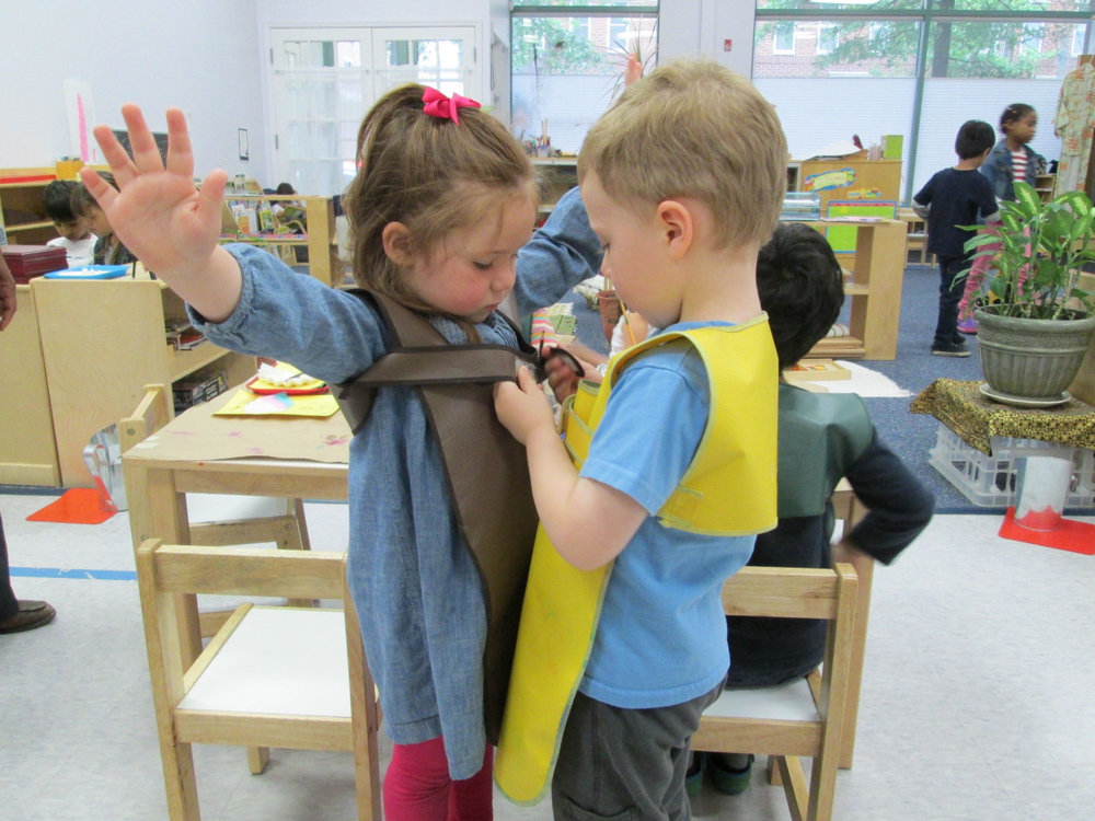 Montessori students are encouraged to help each other - a task which the Primary 3 students take to heart.